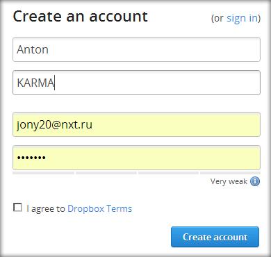 создание аккаунта в dropbox