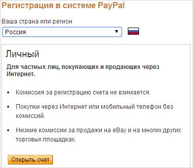 регистрация в paypal